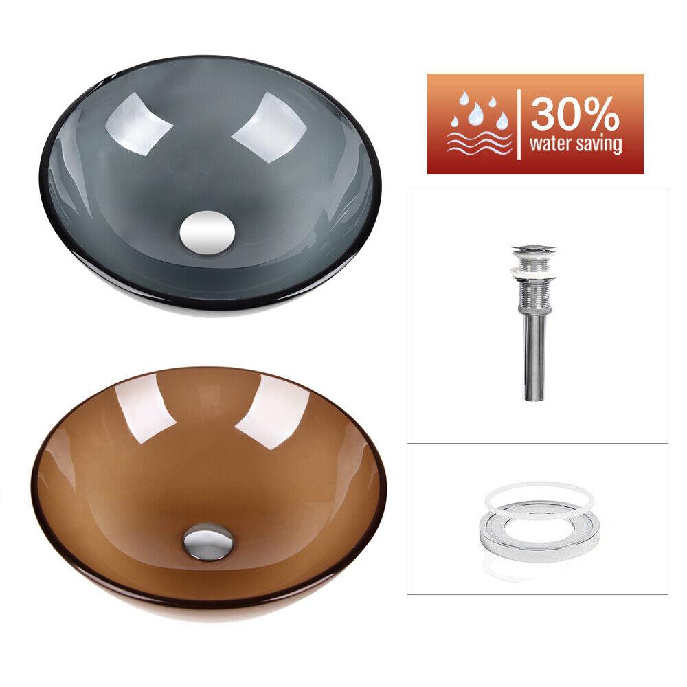 Bathroom Tempered Glass Single Vessel Sink Vanity Basin Bowl