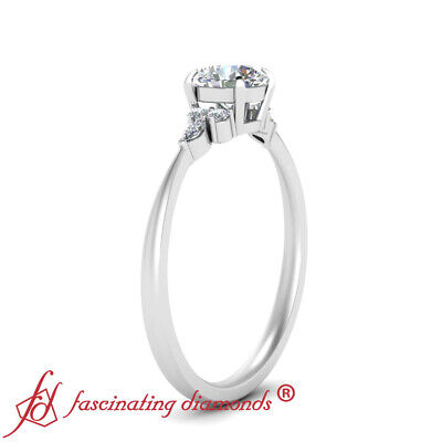Round Cut And Marquise Diamond 7 Stone Wedding Ring In 18K White Gold 0.75 Ctw 2