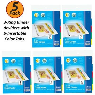 5 Pack - 3-ring Binder Dividers With 5-insertable Color Tabs Fits In Ring Binder