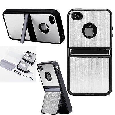 For iPhone 4 4S Silver Aluminum Steel Hard Cover Case w/ Screen Protector + Pen on Rummage