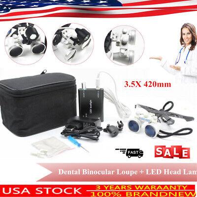 Dental Binocular Loupes Medical Surgical Magnifier 3.5x 420mm Led Head Lamp Usa