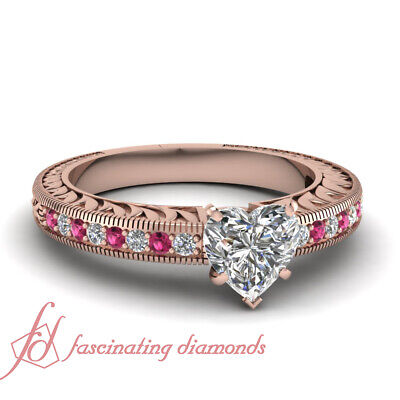 3/4 Ct Heart Diamond And Pink Sapphire Rose Gold Engagement Ring For Women GIA