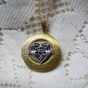 Celtic Heart Claddagh Locket, Scottish Irish Celtic Wedding Locket Necklace