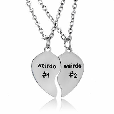 Stainless Steel Weirdo #1 and #2 Necklace His Hers Crazy Best Friend Couple BFF