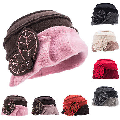 Womens Ladies 1920s Gatsby style 100% Wool Bucket Cloche Beanies Winter Hat A375