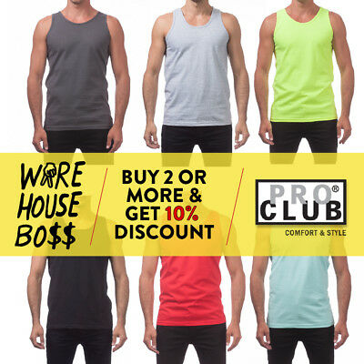 PROCLUB PRO CLUB MENS CASUAL TANK TOP PLAIN MUSCLE T SHIRT SLEEVELESS SHIRTS GYM - Muscle Shirts Mens