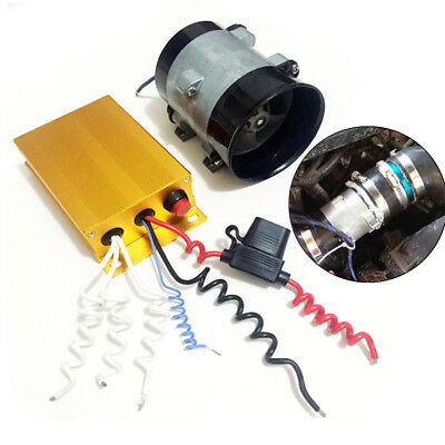 12V Zinc Car Supercharger Kit Air Pressure Turbo Fan Power Booster 35K-52K RPM