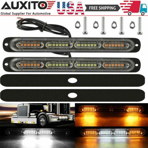 2PCS Amber/White 24LED Car Truck Emergency Warning Hazard Flash Strobe Light Bar