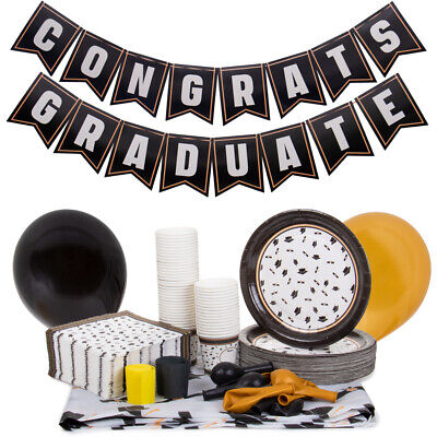 Graduation Party Supply Kit: Tablecloth, Banner, Plates, Balloons, Napkins, Cups](Graduation Tablecloths)