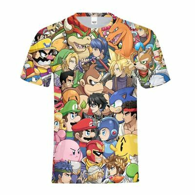 Super Mario & Pokemon Game Party T-Shirt Kids Men All Over Print Funny Tee Shirt (Pokemon Party Games)