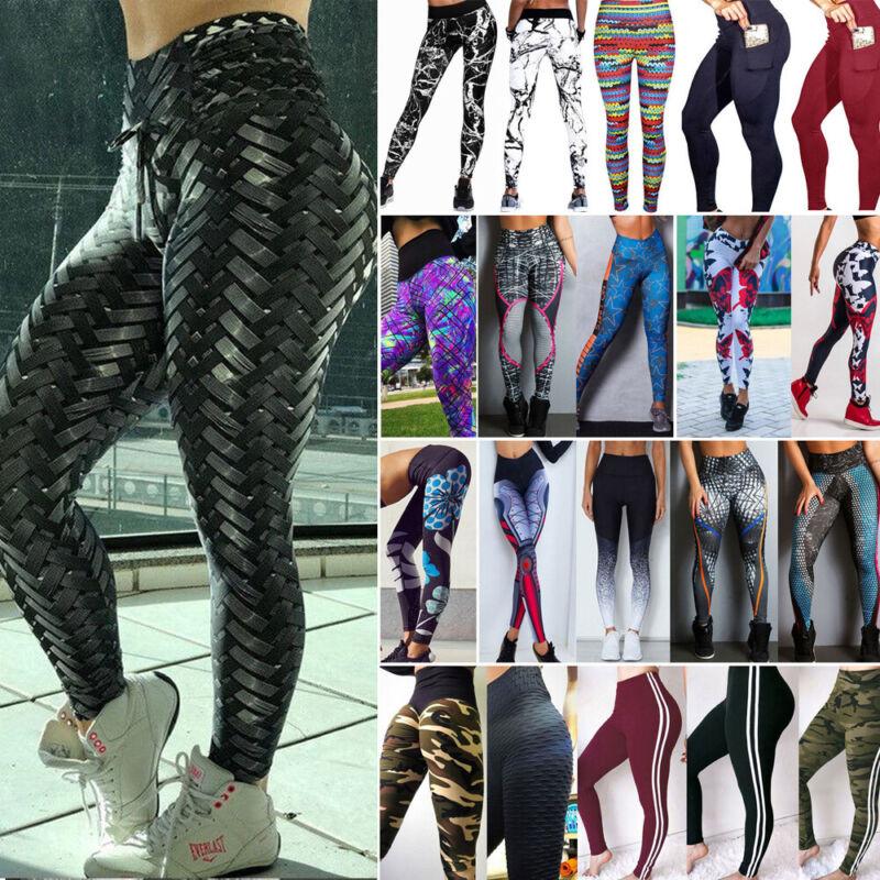 Womens Yoga Pants High Waist Yoga Fitness Leggings Running G