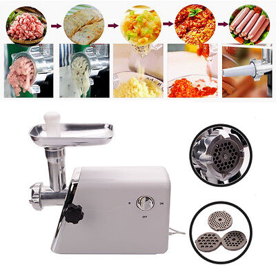 Electric Meat Grinder Stainless Steel Sausage Kubbe Attachment W3 Blade 1300w