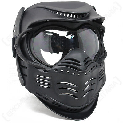 Black PAINTBALL MASK- Airsoft Full Face Protection With GOGGLES Tactical Gear