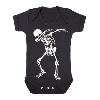 Halloween Skeleton Dab Black Baby Grows/Rock/Goth/Metal/Sleep suit/Romper/Funny