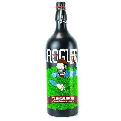 06 ROGUE Beer Bottle 26oz Ceramic Ten Thousand Collectors Painted White Empty