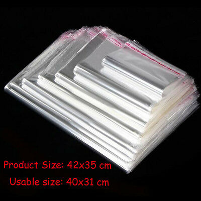 20-50pcs Big Size Self Seal Resealable Bag Clear Bag Poly Plastic Opp Bag Width