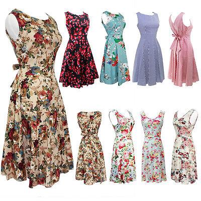 Women Vintage A-Line Dress Tunic Long Short Sleeve Floral Print Sundress S-2XL Floral Print Cotton Sundress