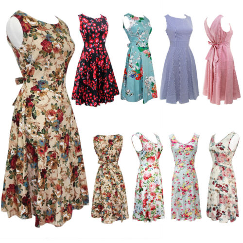 Womens 50S 60S Rockabilly Vintage Ladies Swing Pinup Retro Housewife Party Dress