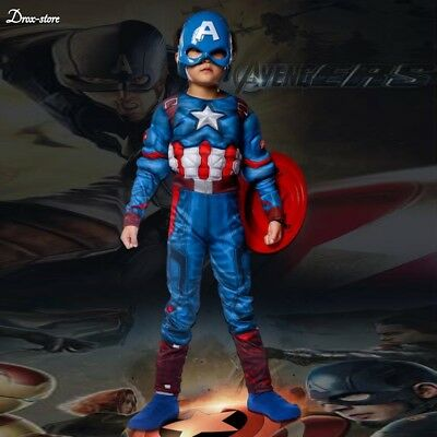 Kids Captain America Costume Avengers Child Cosplay Super Hero Halloween Boys - Boys Halloween Costume