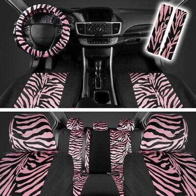 Pink/Black Zebra Animal Print Car Seat Cover Set Fits Car Truck SUV - 12 PC
