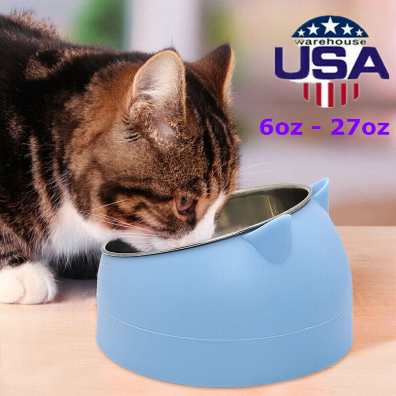 Cat Stainless Steel Bowl Elevated Stand Tilted Pet Feeder Bowls 200 - 800ml - US