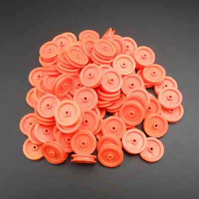 100pcs X Plastic Pulley Gear Motor Wheels Dia 16.5mm Shaft Dia.2mm 1.95mm Orange