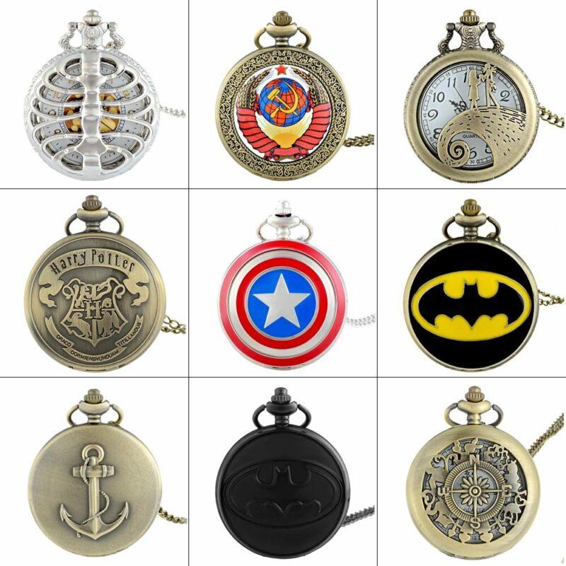 Retro Vintage Quartz Pocket Watch Necklace Pendant Steampunk Antique Chain Gift
