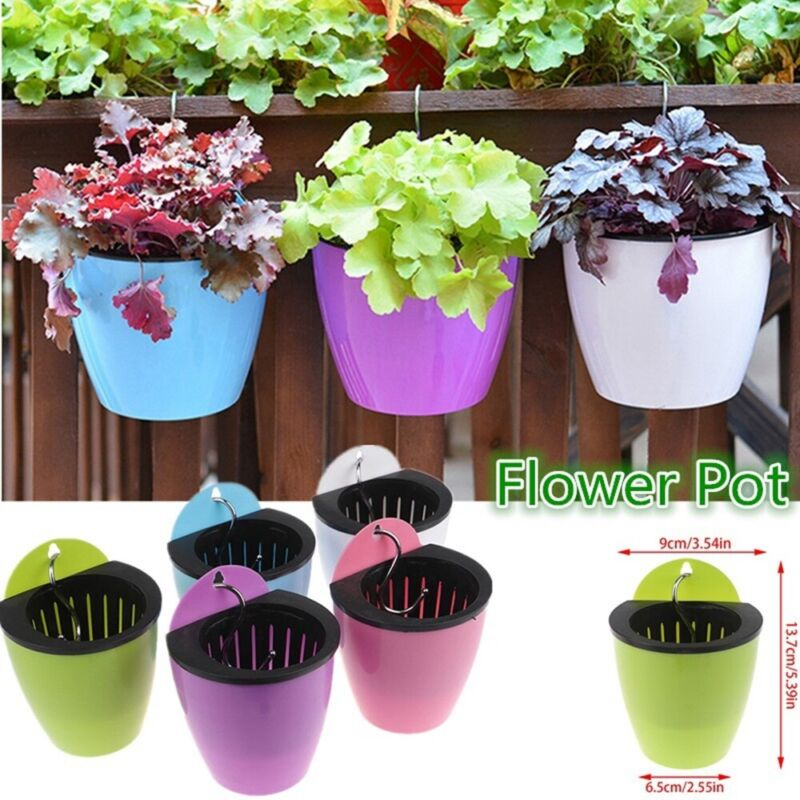 Self Watering Plant Flower Pot Wall Hanging Baskets Round Resin Plastic Planter Ebay