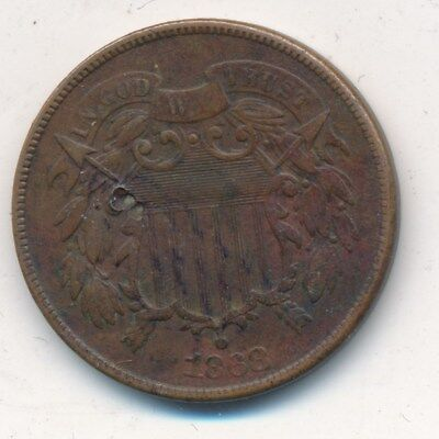 1868 COPPER TWO CENT PIECE-NICE CIRCULATED 2 CENT COIN-SHIPS FREE! INV:4