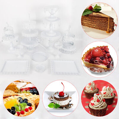 14Pcs Wedding Cake Dessert Stand Cake display Table Decoration Party White - Cake Table