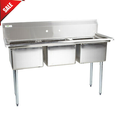 60 3-compartment Stainless Steel Commercial Pot Pan Sink Without Drainboards