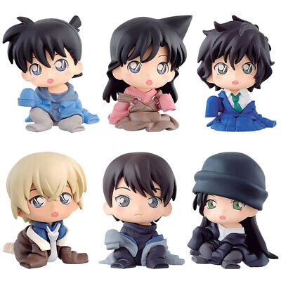 6 PCS Detective Conan Case Closed Anime Action Figure Kids Doll Cake Topper Toys