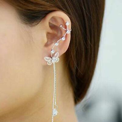 1pc Ethereal Butterfly Ear Cuff Earring Wrap Climber Rhinestone Drop Dangle Star