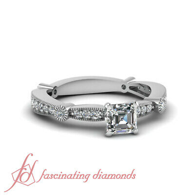 Tapered Milgrain Engagement Ring Pave Set 3/4 Carat Asscher Cut VVS2 Diamond GIA