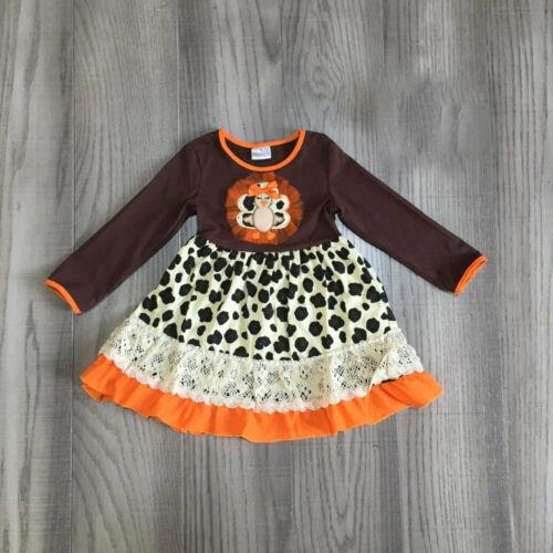 NEW Boutique Turkey Leopard Girls Long Sleeve Thanksgiving Dress