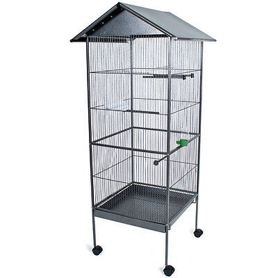 Large bird aviary bird cage silver anthracite 162cm high