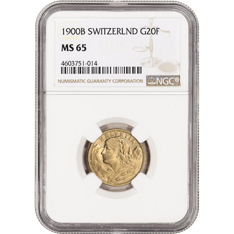 1900 B Switzerland Gold 20 Francs - NGC MS65