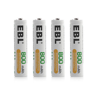 (4) EBL 800mAh AAA Rechargeable Replacement Batteries for Camera Solar Light MP3