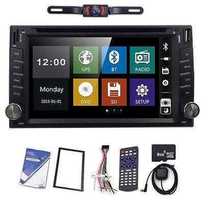 Double 2Din Car DVD Player GPS Navigation Dual Zone Radio iPod Bluetooth+Camera