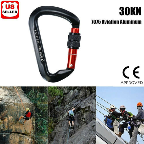 30KN Heavy Duty Screwgate Locking Carabiner D-Ring Clip Hook for Climbing Caving Carabiners & Hardware
