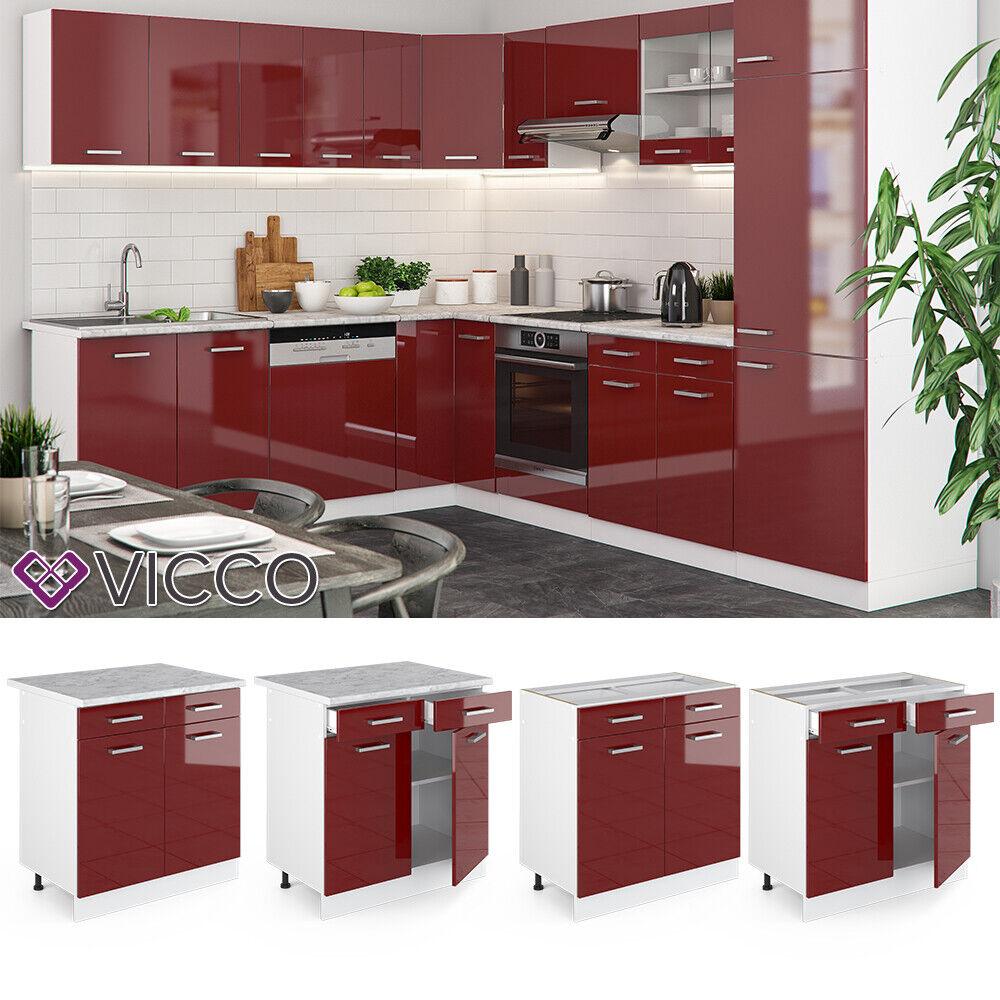 VICCO Küchenschrank Hängeschrank Unterschrank Küchenzeile R-Line Schubunterschrank 80 cm rot