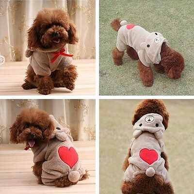 New Dog Outfits-Cute Bear Costume Jumpsuit Hoodie Clothes Apparel for Dog Pet us](Dog Bear Costumes)
