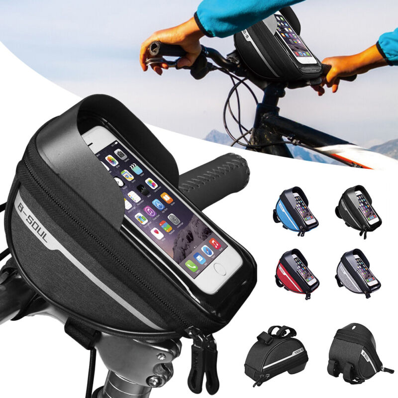 Bicycle Front Top Tube Frame Bag MTB Cycling Bike Waterproof Phone Holder Case