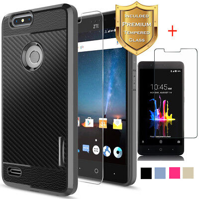 For ZTE Blade Z Max/Sequoia/Z982 Hybrid TPU Case Cover +Tempered Glass Protector