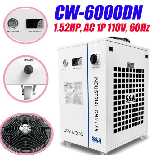 CW-6000DN Industrial Water Chiller for 100W Solid-state Laser, 22KW CNC Spindle