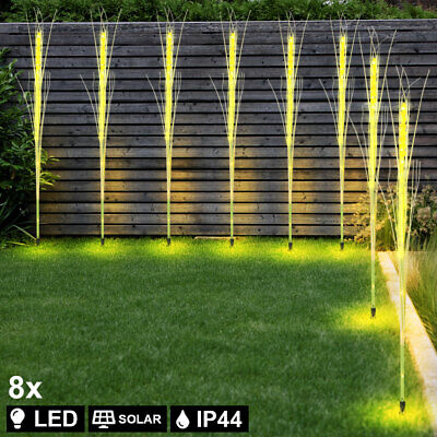 8x LED solar outdoor plug-in lamps grain yard lighting patio ground spike new