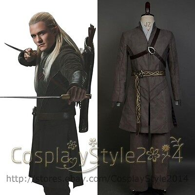 Lord of the Rings Hobbit Elf Prince Legolas Greenleaf Outfit COSplay Costume Set