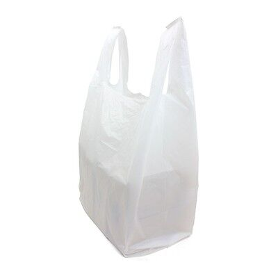 100 x Quality WHITE Plastic Vest Carrier Bags 11