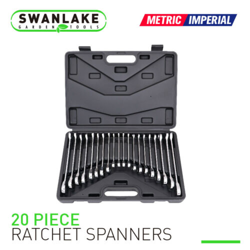 20pc Ratcheting Wrench Combination Flat Ratchet Spanner Set