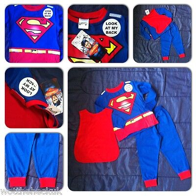 Boys Kids Red Blue Superman Pyjamas with Cape Nightwear Superhero PJS Super Man
